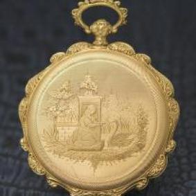 Antique Swiss hunter golden pocket watch with beautiful engravement
