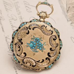 Antique 1830s Swiss Solid 18k GOLD PEARLS and TURQUOISE Pocket or Pendant Lady Watch by J.F. BAUTTE