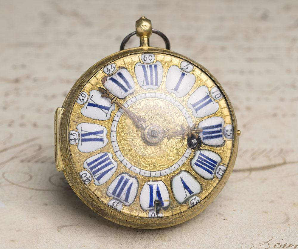 LOUIS XIV OIGNON Verge Fusee Antique Pocket Watch MONTRE COQ SpindelTaschenuhr