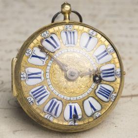 LOUIS-XIV-OIGNON-Verge-Fusee-Antique-Pocket-Watch-MONTRE-COQ-SpindelTaschenuhr