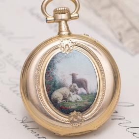 Vacheron Constantin Antique Solid 18k Gold and Painted Enamel Pocket/Pendant Lady Watch from 1870