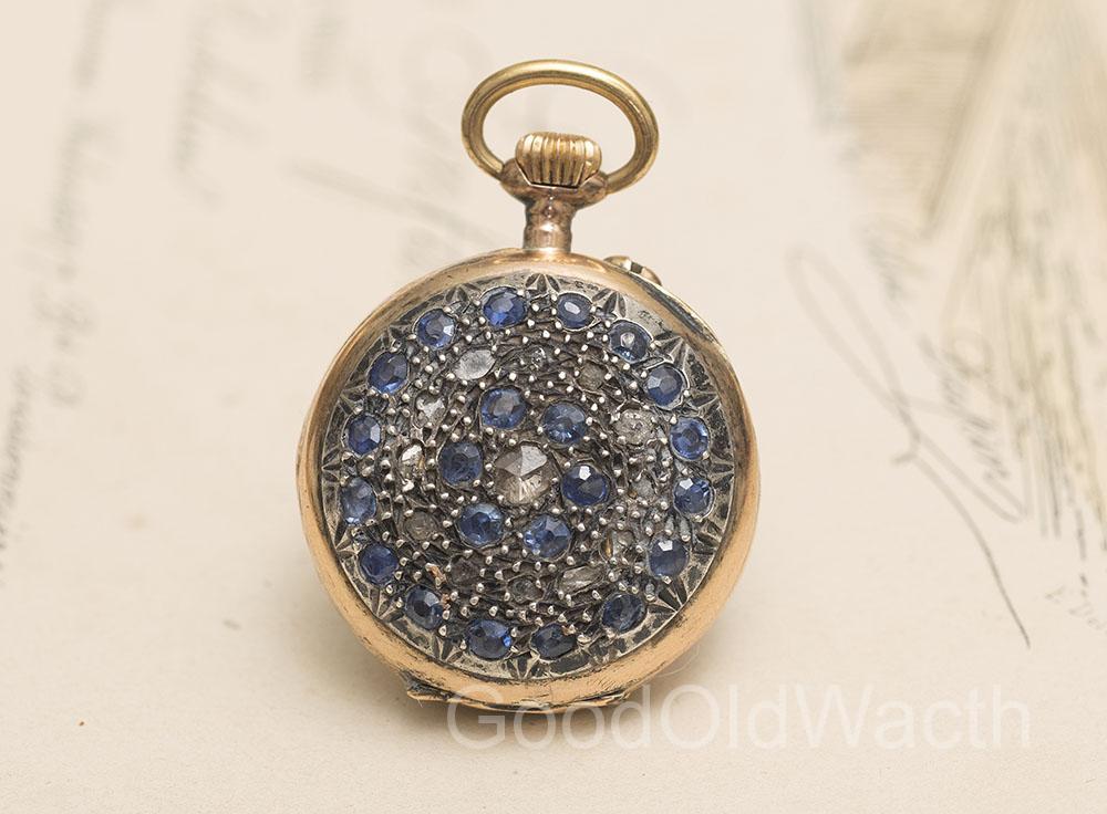Antique 1900s 18k gold sapphires diamonds 1900 lady pocket or antique 1900s 18k gold sapphires diamonds 1900 lady pocket or pendant watch mozeypictures Choice Image