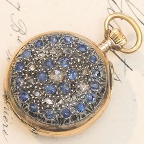 Antique 1900s 18k GOLD, SAPPHIRES & DIAMONDS 1900 Lady Pocket or Pendant Watch