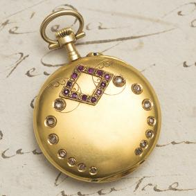 Antique 1900s Solid 18k GOLD, DIAMONDS & RUBIES Lady Pocket or Pendant Watch