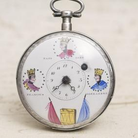 THREE-EMPERORS---NAPOLEON-COMMEMORATIVE-VERGE-FUSEE-Antique-Pocket-Watch