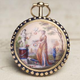 PAINTED ENAMEL Solid 18k GOLD Verge Fusee Antique Pocket Watch