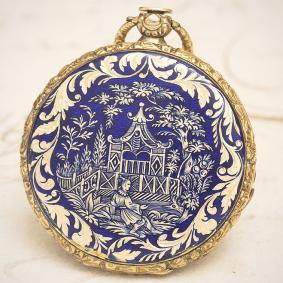 Antique Swiss Gold Pocket Watch by ROCHAT FRERES with Antique Swiss GOLD &CHINOISERIE ENAMEL Pocket Watch ROCHAT FRERES with CHI