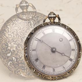 Antique 1800s 18k GOLD & CHAMPLEVE ENAMEL VERGE FUSEE Pocket Watch