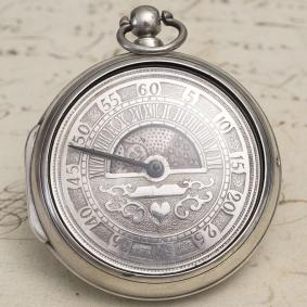 """Sun and Moon"" - Antique British Pair Case Big Verge Fusee Pocket Watch from 1827"