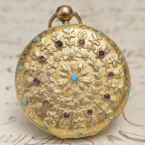 Antique French Solid 4-colored 18k GOLD & TURQUOISE Verge Fusee Pocket Watch