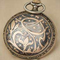 Silver and enamel Longines pocket watch. Art Nouveau style.