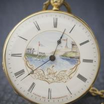 Antique French golden pocket watch with painted dial - Prize of Sevastopol