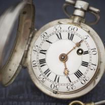 Montre ancienne coq gousset en ARGENT circa 1740 VERGE FUSEE silver pocket watch