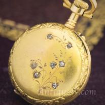 Beautiful French Solid 18k and Diamonds Pocket/Pendant Lady Watch