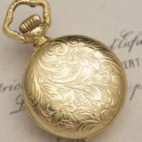 Vintage Miniature Swiss Solid 18k Gold Hunter Lady Pendant Watch