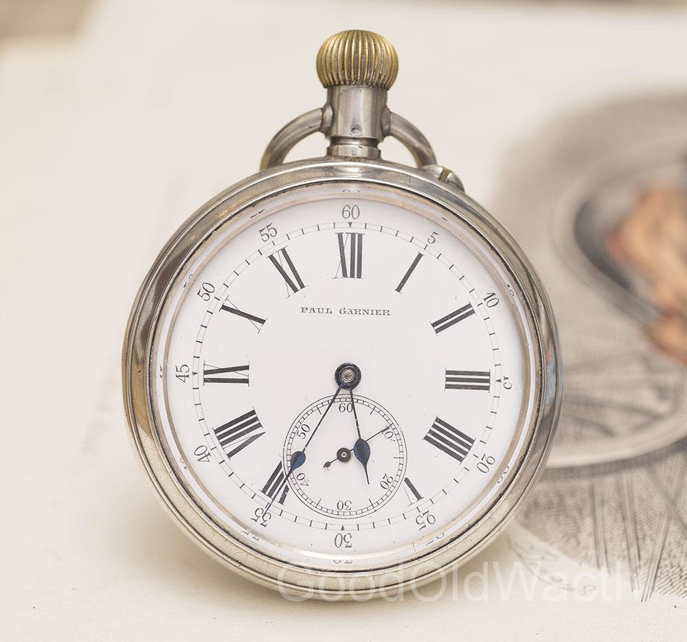 Antique Railroad Silver Double Sided Pocket Chronograph