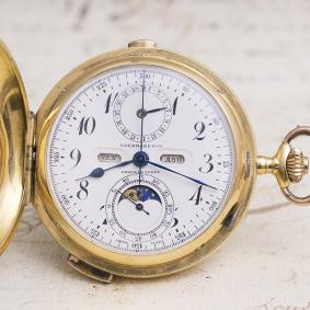 Quarter Repeating Chronograph & Moon phases Calendar Antique Pocket Watch in 18K Gold case