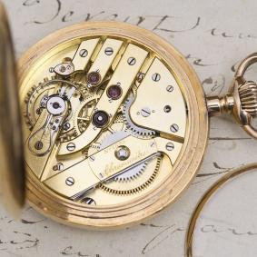 Quality Pivoted Detent Chronometer in 18k Gold Hunter Case Antique Pocket Watcg